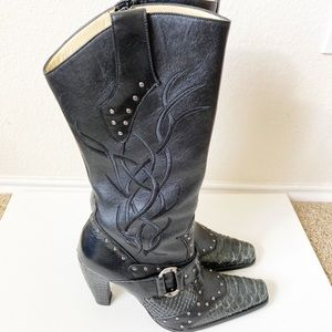 lack Western Studded Embroidered Heel Boots Size 7